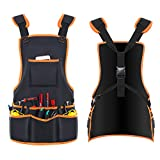 Bingogous Tool Apron Woodworking Apron, Heavy Duty Canvas Work Apron with 16 Pockets for Holding Tools, Cross-Back Straps Adjustable Size