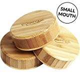 Timber Tops - Bamboo Wood Regular-Mouth Mason Jar Storage Lids with Silicone Seal - 3 Pack - Regular
