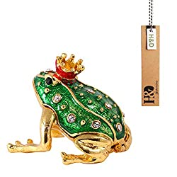 H&D Crystal Small Frog Animal Figurine Collectible Trinket Box Ring Holder