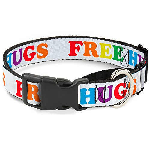 Buckle Down Free Hugs White/Multi Color Martingale Dog Collar, 1.5