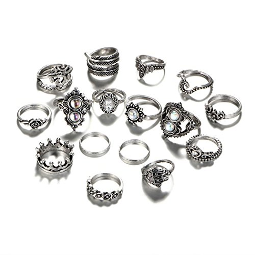 - Alisena 16pcs/set Vintage Assorted Stacking Rings Antique Silver Joint Above Knuckle Nail Midi Band Statement Stackable Cuff Toe Finger Ring Set