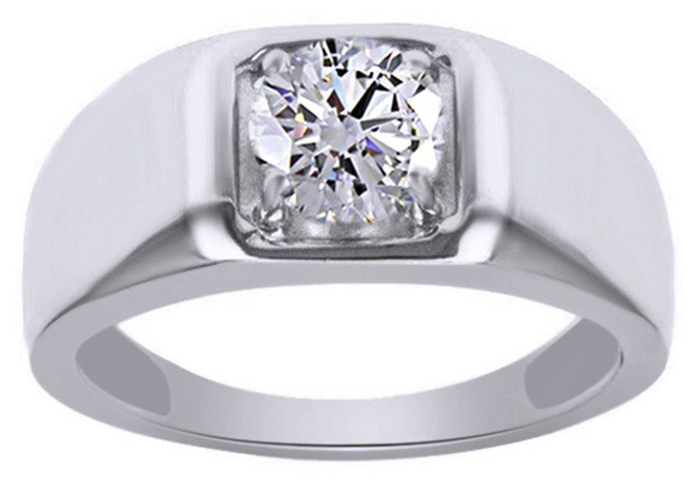 Moissanite 1.28 Carat Diamond Equivalent Weight Round Brilliant Cut 14k White Gold Over Sterling Silver Ring for Men