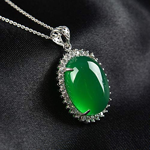 EASTCODE Charming 925 Silver-Inlaid Natural Jade Luxury Pigeon Egg Pendant/Simple Fashion Hanging Imperial Green Necklace (Imperial Green Jade Necklace)