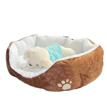 Doitsa 1Pcs Cama para Mascotas para Perro Gato Lindo Suave Cama de Perro de Forma Redonda Casa de Mascota (Marrón, L): Amazon.es: Juguetes y juegos