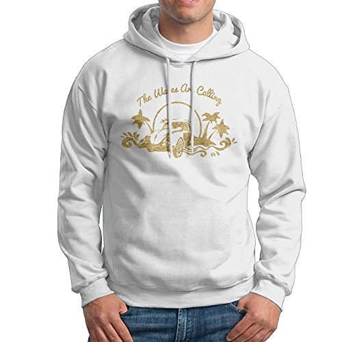 Waves Are Calling Surfer Beach Mens Fashion Casual No Pockets Pullover Hoodie