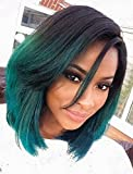 Sunwell Lace Front Wigs For Black Women Ombre Color Short Bob Synthetic Hair Wig (Black to Green, 12