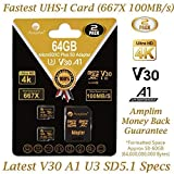Amplim 2 Pack 64GB MicroSD Card Plus Adapter – MicroSDXC V30 A1 Class 10 U3 100MB/s Micro SD Memory Card for UHD 4K Video, GoPro, Nintendo, Cell Phones Galaxy, LG, Xperia, DJI, Drone, Cameras, Fire (Color: V30 Black 2X64, Tamaño: MicroSD)