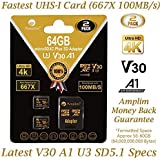 64GB Micro SD Card Plus Adapter - Amplim V30 A1...