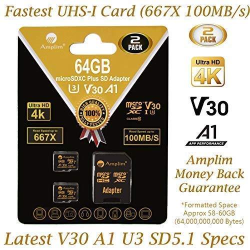 Amplim 2-Pack 64GB Micro SD Card Plus Adapter Pack 2X MicroSD SDXC Card 100MB/s V30 A1 U3 C10 UHS-I 4K Video MicroSDXC Memory Card Nintendo GoPro Camera Galaxy LG Moto Canon Nikon DJI Fire Dashcam (64gb Memory Chip)