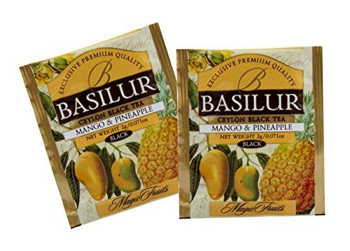Basilur | Mango & Pineapple Tea | Food Service Packs | Single Origin | 100% Pure Natural Black Tea with pieces of Mango & Pineapple | 100 Count Foil Enveloped Tea Bags | Pack of 100