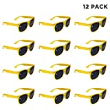 Windy City Novelties 12 Pack Yellow Retro Sunglasses Bulk for Kids Adults Party Favors