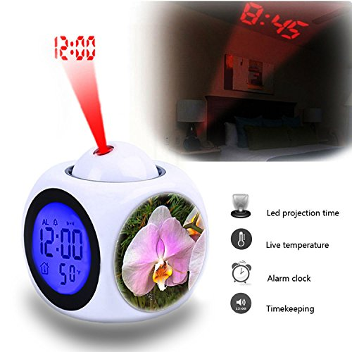 - Projection Alarm Clock Wake Up Bedroom with Data and Temperature Display Talking Function, LED Wall/Ceiling Projection,Customize the pattern-074.blossom plant flower petal orange botany yellow pink