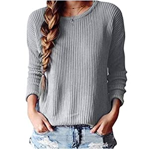 Coper Fashion Womens Fall Winter Loose Knitted Sweater Casual Coat Top (Gary, L)