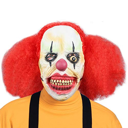 Aiduy Halloween Mask Scary Clown Masks for Adults, Horror Latex Mask Cosplay Creepy Head Mask with Hair for Halloween Costume Party Props -