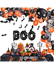 Halloween decoratieset, Halloween ballonnen, Halloween party ballonnen, zwart oranje latexballon, folieballon, carnavaldecoratie, schedelspinnennet vleermuis griezeldecoratie kinderfeest