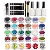 Glitter Tattoo Kit, Tattoo Body Painting Art Stencil Kit Include 24pcs Glitter Powder 60pcs Stencils 6cps Heart Sequins 2pcs Brush 3pcs Glue