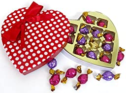 mothers day gift, Godiva Chocolate with polka Dot Red and white fun heart.