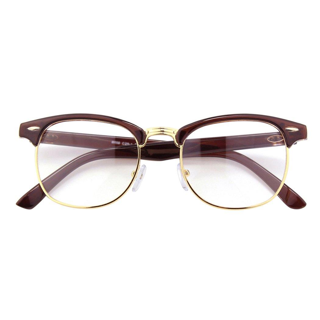 CGID CN56 Vintage Inspired Horn Rimmed Nerd UV400 Clear Lens Glasses Black Yellow FBA8056b-04