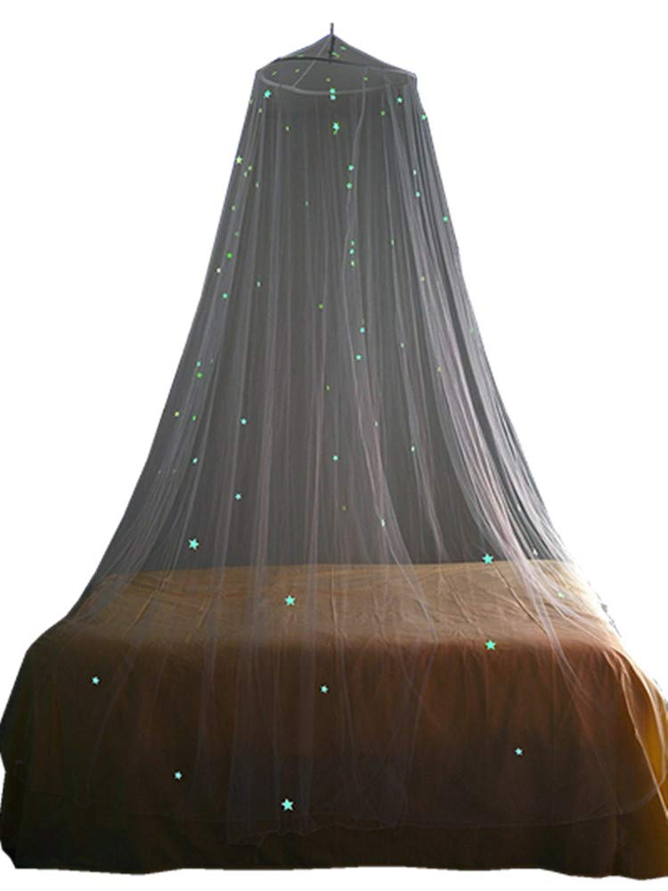Ledyoung Mosquito Net Luxury and Elegant Bed Canopy, Glow in Dark with Luminous Stars Bed Canopy Net for Adults, Babies, Outdoor Camping (White)