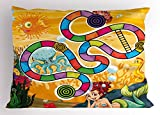 Lunarable Board Game Pillow Sham, Fantastic Aquatic Concept Mermaid Octopus Seahorse Bubble Fish Coral Reef Fun, Decorative Standard King Size Printed Pillowcase, 36 X 20 inches, Multicolor
