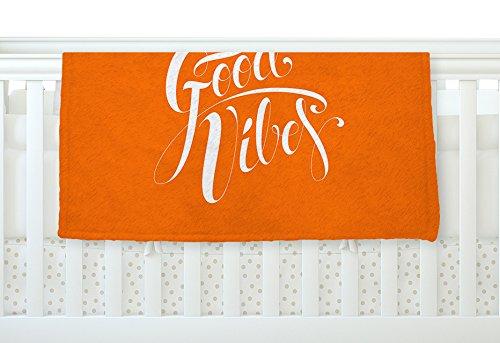 KESS InHouse Roberlan Good Vibes White Orange Fleece Baby Blanket 40 x 30
