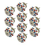 Yahead 10pcs Ceramic Pumpkin Door Knobs Antique Flower Painted Handles Pulls for Cabinets Cupboard Dresser Shoebox Drawers Kitchen Furniture Kids Room 40mm Maple Leaf