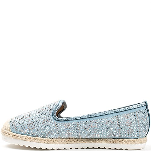 Ideal Shoes, Damen Slipper & Mokassins Himmelblau