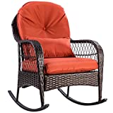 Tangkula Wicker Rocking Chair Outdoor Porch Garden Lawn Deck Wicker All Weather Steel Frame Rocker Patio Furniture w/Cushion (red cushion) 27'' Lx34.5 Wx37.5 H
