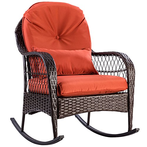 TANGKULA Wicker Rocking Chair Outdoor Porch Garden Lawn Deck Wicker All Weather Steel Frame Rocker Patio Furniture w/Cushion (red cushion) 27