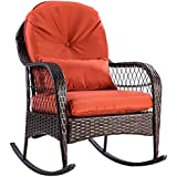 """Tangkula Wicker Rocking Chair Outdoor Porch Garden Lawn Deck Wicker All Weather Steel Frame Rocker Patio Furniture w/Cushion (red cushion) 27"""" Lx34.5 Wx37.5 H"""