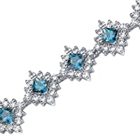 Timeless Splendor: 2.50 carats Princess Cut London Blue Topaz & White CZ Gemstone Bracelet in Sterling Silver Rhodium Nickel Finish by peora