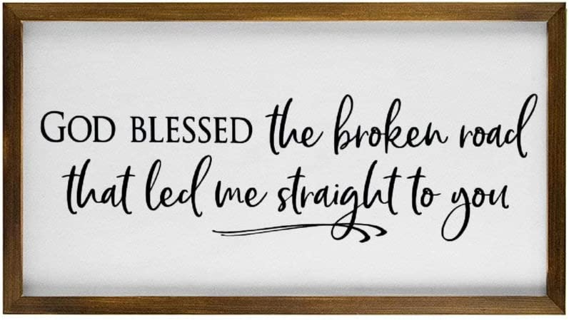 None Brand God Blessed The Broken Road That Led Me Straight to You Rustic Wood Wall Sign, Hanging Wood Sign with Frame,Quote Saying Words Sign,Personalized Funny Wooden Label lt5xe0m0kfoc
