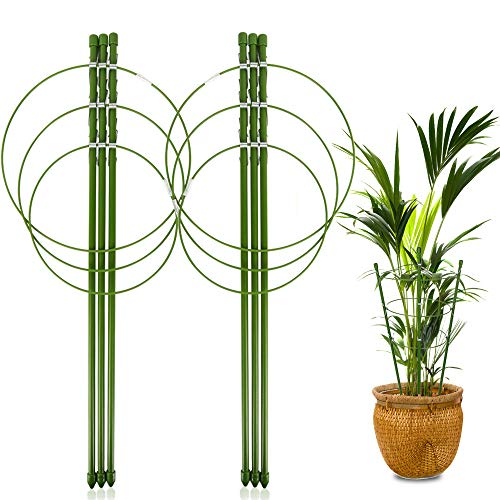 "LEOBRO 2 Pack Plant Support Cage Metal Rust Resistant Garden Plant Support Ring Plant Stake Plant Support for Tomato, Trellis, Climbing Plant, Flower, 17.7"" High, 5.48""/6.18""/6.89"" Inner Diameter"