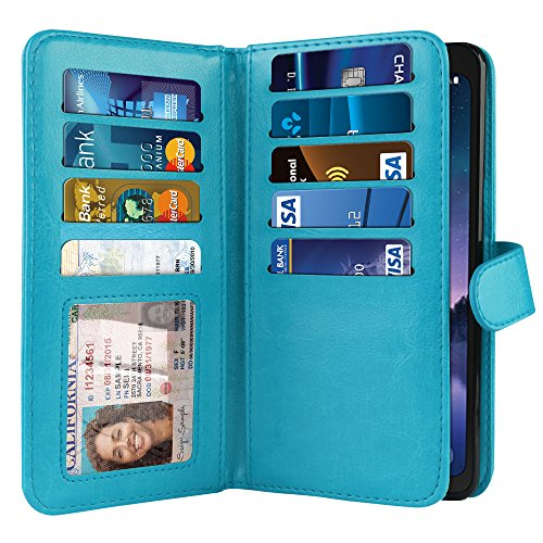 NEXTKIN Case Compatible with Samsung Galaxy S8 ACTIVE G892A 5.8 inch, Leather Dual Wallet Folio TPU Cover, 2 Pockets Double flap, Multi Card Slots Snap Button Strap For Galaxy S8 ACTIVE - New Teal