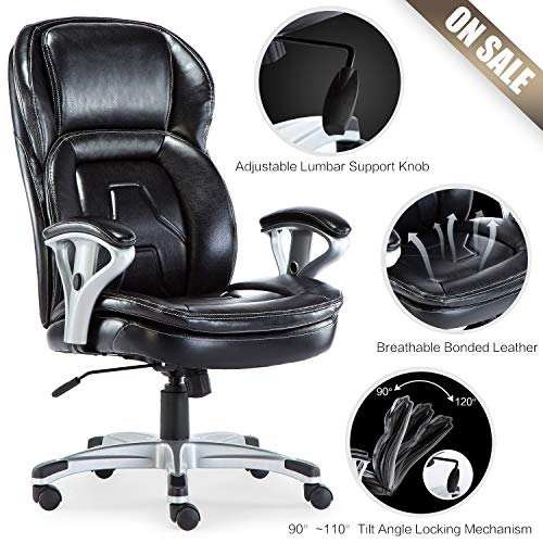 ComHoma Office Chair, Big and Tall 400 lb Executive Computer Desk Task Swivel High Back Chair with Metal Base- Adjustable Built in Lumbar Support, Tilt Angle and Flip-Up Arms,BIFMA Certified, Black