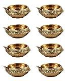 100% Pure Virgin Brass Diwali Diya (Set of 50) Indian Pooja Oil Lamp - Golden Engraved Design Dia - 2.25 Inch. Deepawali Diya/Tea Light Holder/Diwali / Christmas Decoration. Traditional Oil Lamp