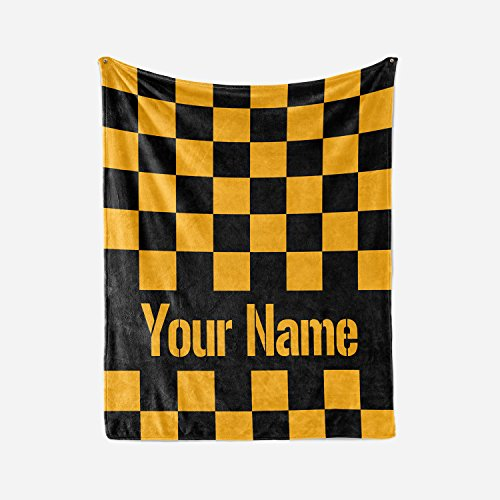 Personalized Custom Pittsburgh Steelers Colors Themed Fleece Throw Blanket - Steeler Super Bowl Champs - Gifts for Men Women Kids Football Fan (Adult -