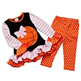 So Sydney Girls Basketball Pink Bow Long Sleeve Ruffle Pants Boutique Outfit (M (4T))