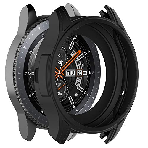 Cywulin Silicone Protection Case for Samsung Galaxy Watch 46mm, Soft TPU Scratch Proof Shockproof All-Around Protective Bumper Shell for Smartwatch SM-R805 SM-R800 Gear S3 Frontier (46mm, Black)
