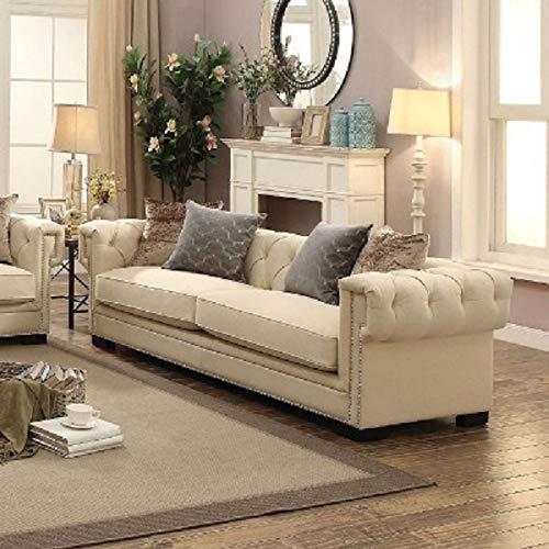 Esofastore Contemporary Style Cream Velvet Tufted 2 Piece Sofa Set Living Room Furniture