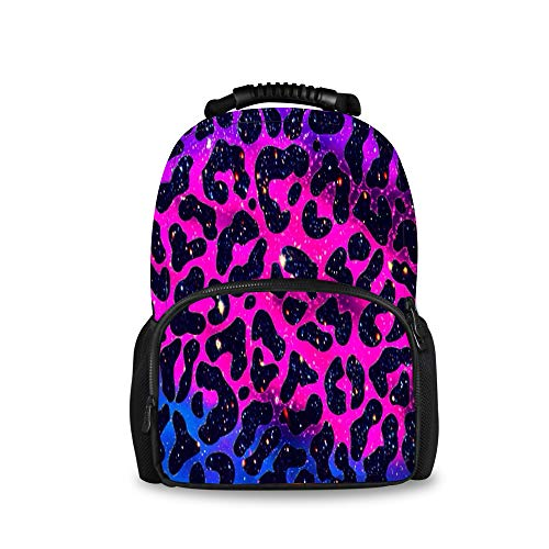 YongColer Lightweight Polyester Rucksacks Pink Purple Blue Cheetah Leopard Camping Outdoor Backpack - Large Capacity Anti-Theft Multipurpose Carry-On Bag for Women Men