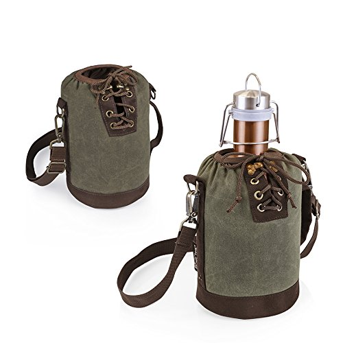 LEGACY - a Picnic Time Brand Stainless Steel Growler with Copper Finish and Khaki Green Canvas Lace up Growler Tote, 64-Ounce by LEGACY - a Picnic Time Brand (Image #2)