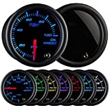 GlowShift Tinted 7 Color 100 PSI Oil Pressure Gauge Kit - Includes Electronic Sensor - Black Dial - Smoked Lens - For Car & T