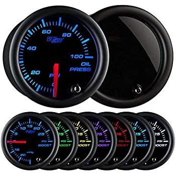 GlowShift Tinted 7 Color 100 PSI Oil Pressure Gauge Kit