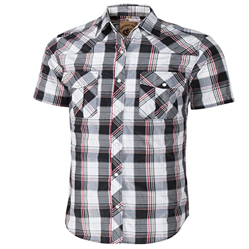 Coevals Club Men's Short Sleeve Casual Western Plaid Snap Buttons Shirt (2XL, 18#black,white)