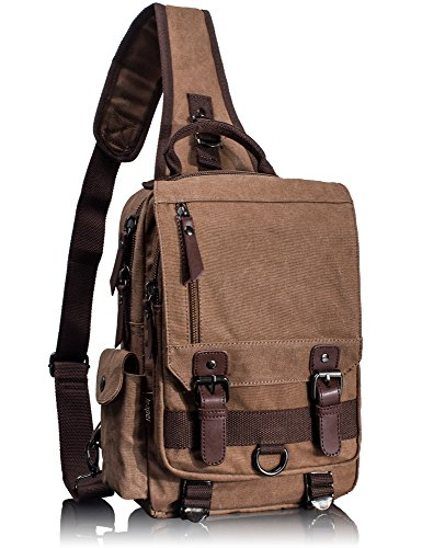 Leaper Canvas Messenger Bag Sling Bag Cross Body Bag Shoulder Bag Coffee, -