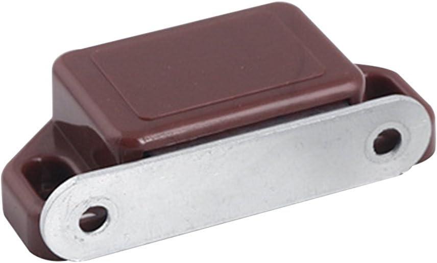Godagoda 10pcs Porte dArmoire de M/énage Blanc//Brun en Plastique Shell Magnetic Catch Loquet Plaque de Cuisine Armoire