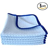 (5-Pack) THE RAG COMPANY 16 in. x 16 in. Premium South Korean 70/30 Blend 400gsm Waffle-Weave Microfiber Detailing and Drying Towels