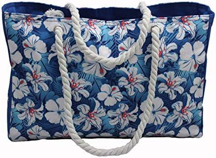 "with zippered top internal /& external pockets SakZon Waterproof Beach Bag L 18.5/"" x H 12.5/"" x W 5.8/"" bottle holders cotton rope handles large"