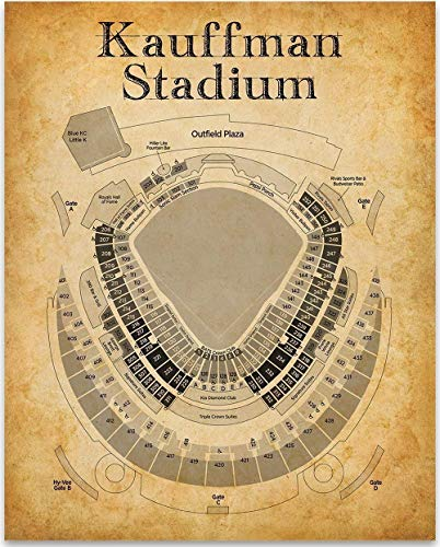 Kauffman Stadium Baseball Seating Chart - 11x14 Unframed Art Print - Great Sports Bar Decor and Gift for Under $15 Baseball - Stadium Personalized Print